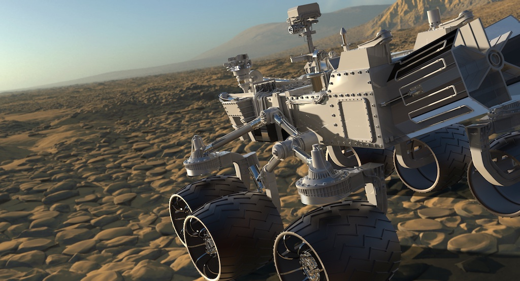 The Mars Rover on Mars 3D Illustration